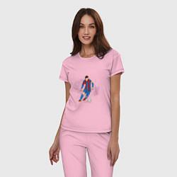 Пижама хлопковая женская Известный футболист цвета светло-розовый — фото 2
