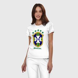 Пижама хлопковая женская Brasil CBF цвета белый — фото 2