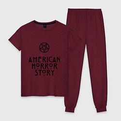 Пижама хлопковая женская American horror story цвета меланж-бордовый — фото 1