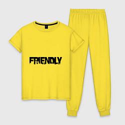 Пижама хлопковая женская DayZ: Im friendly цвета желтый — фото 1