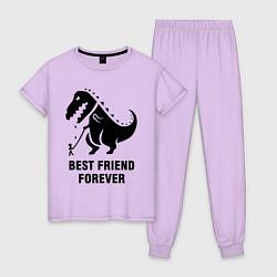 Пижама хлопковая женская Godzilla best friend цвета лаванда — фото 1