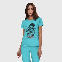 Пижама хлопковая женская Chelsea Grin: Demon Girl цвета бирюзовый — фото 2