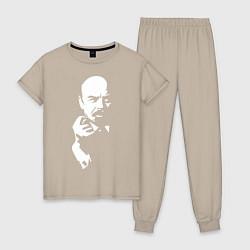 Пижама хлопковая женская Ленин: фигу вам цвета миндальный — фото 1