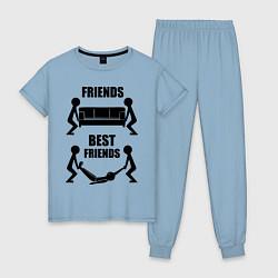 Пижама хлопковая женская Best friends цвета мягкое небо — фото 1