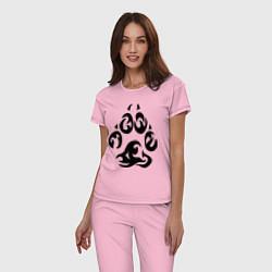 Пижама хлопковая женская Волчий след цвета светло-розовый — фото 2