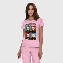 Пижама хлопковая женская Dostoevsky цвета светло-розовый — фото 2