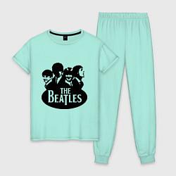 Пижама хлопковая женская The Beatles Band цвета мятный — фото 1