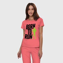 Пижама хлопковая женская Рожден для бега цвета коралловый — фото 2