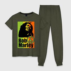 Пижама хлопковая женская Bob Marley: Jamaica цвета меланж-хаки — фото 1