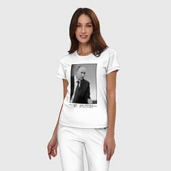 Пижама хлопковая женская V. Putin цвета белый — фото 2