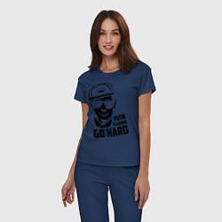 Пижама хлопковая женская Go hard vladimir putin цвета тёмно-синий — фото 2
