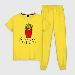 Пижама хлопковая женская Пятница цвета желтый — фото 1