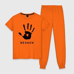 Пижама хлопковая женская We know цвета оранжевый — фото 1