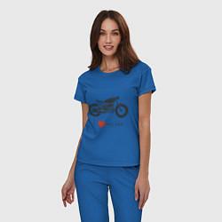 Пижама хлопковая женская Люблю свой байк цвета синий — фото 2