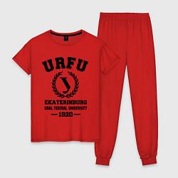 Пижама хлопковая женская URFU University цвета красный — фото 1