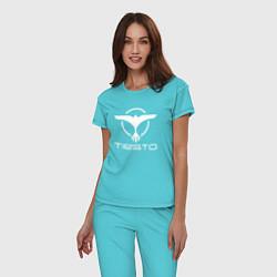 Пижама хлопковая женская Tiesto цвета бирюзовый — фото 2