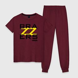 Пижама хлопковая женская Brazzers Bros цвета меланж-бордовый — фото 1
