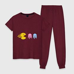 Пижама хлопковая женская Pac-Man: Fast Eat цвета меланж-бордовый — фото 1