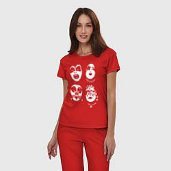 Пижама хлопковая женская Kiss Faces цвета красный — фото 2