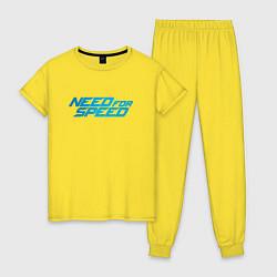 Пижама хлопковая женская Need for speed цвета желтый — фото 1