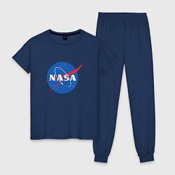 Пижама хлопковая женская NASA: Logo цвета тёмно-синий — фото 1