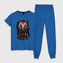 Пижама хлопковая женская Slipknot Pentagram цвета синий — фото 1