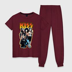 Пижама хлопковая женская Kiss Group цвета меланж-бордовый — фото 1