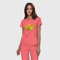 Пижама хлопковая женская Wu-Tang Hands цвета коралловый — фото 2