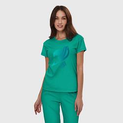 Пижама хлопковая женская Грей цвета зеленый — фото 2