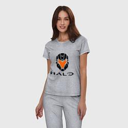 Пижама хлопковая женская Halo: Robot Mask цвета меланж — фото 2