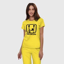 Пижама хлопковая женская Honda Logo Sexy цвета желтый — фото 2
