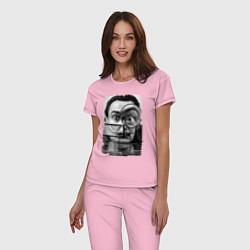 Пижама хлопковая женская Абстракция Дали цвета светло-розовый — фото 2