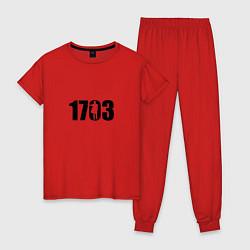 Пижама хлопковая женская 1703 цвета красный — фото 1