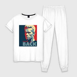 Пижама хлопковая женская I'll be back цвета белый — фото 1