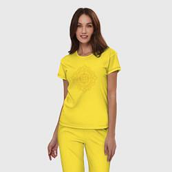 Пижама хлопковая женская Золотой цветок цвета желтый — фото 2