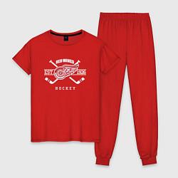 Пижама хлопковая женская Detroit Red Wings: Est.1926 цвета красный — фото 1