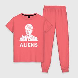 Пижама хлопковая женская Mulder Aliens цвета коралловый — фото 1