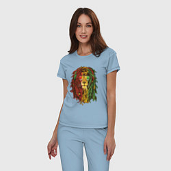 Пижама хлопковая женская Rasta Lion цвета мягкое небо — фото 2