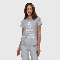 Пижама хлопковая женская Dont panic & Carry a Towel цвета меланж — фото 2
