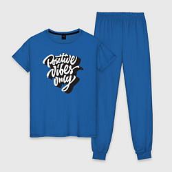 Пижама хлопковая женская Positive vibes only цвета синий — фото 1