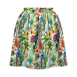 Женская юбка Попугаи в тропиках