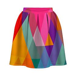 Юбка-солнце 3D женская Разноцветные полигоны цвета 3D — фото 1