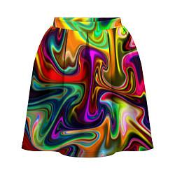 Юбка-солнце 3D женская Неоновые разводы цвета 3D-принт — фото 1