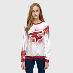 Свитшот женский FaZe Clan: White collection цвета 3D-красный — фото 2