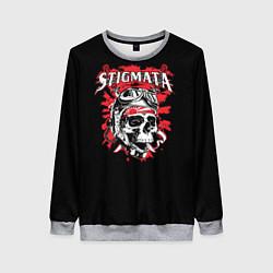 Свитшот женский Stigmata Skull цвета 3D-меланж — фото 1