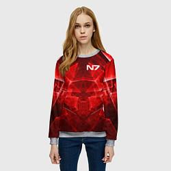 Свитшот женский Mass Effect: Red Armor N7 цвета 3D-меланж — фото 2