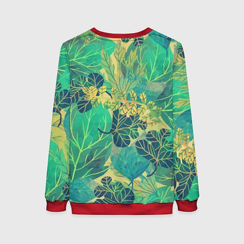 Женский свитшот Узор из листьев / 3D-Красный – фото 2