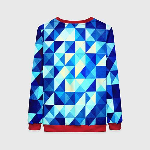 Женский свитшот Синяя геометрия / 3D-Красный – фото 2