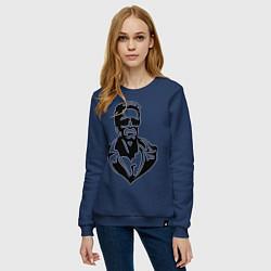 Свитшот хлопковый женский Железный Арни цвета тёмно-синий — фото 2
