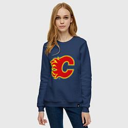 Свитшот хлопковый женский Calgary Flames цвета тёмно-синий — фото 2